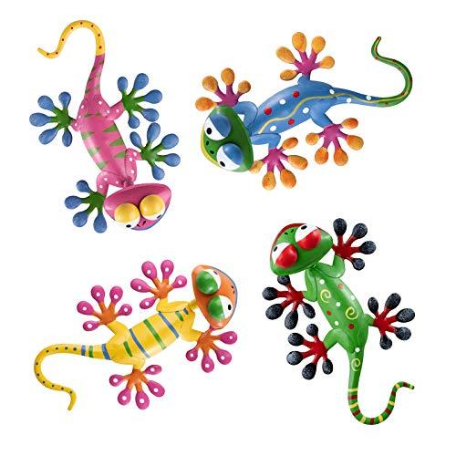 hogardeck Metal GeckoWall Art, 4 Pack Lizard Garden Sculptures &...