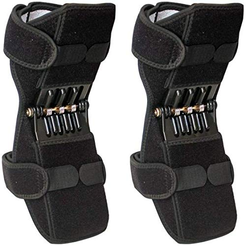 Ezonedeal 2pcs Power Knee Stabilizer Pads Power knee Brace Joint Support with 4 Powerful Springs, Protective Booster Gear for Men/Women Weak Legs, Arthritis, Enhance Exercise