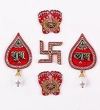 Itiha Shubh Labh,Lakshmi Feet,Hindu Swastika Acrylic Showpiece Door Hanging Diwali Gift/Festive Gift/haldi kumkum Return G...