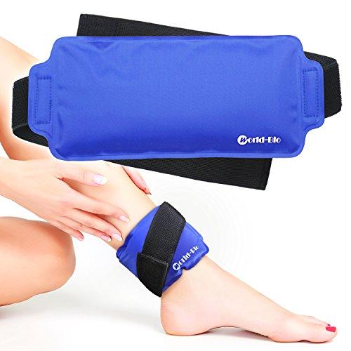 """Bolsa de Hielo Reutilizables - con correa de compresión para terapia térmica - para rodillas, muñecas, tobillos, brazos, muslos, codos, piernas, cuello - 9.4\""""x 4.5\"""" azul"""