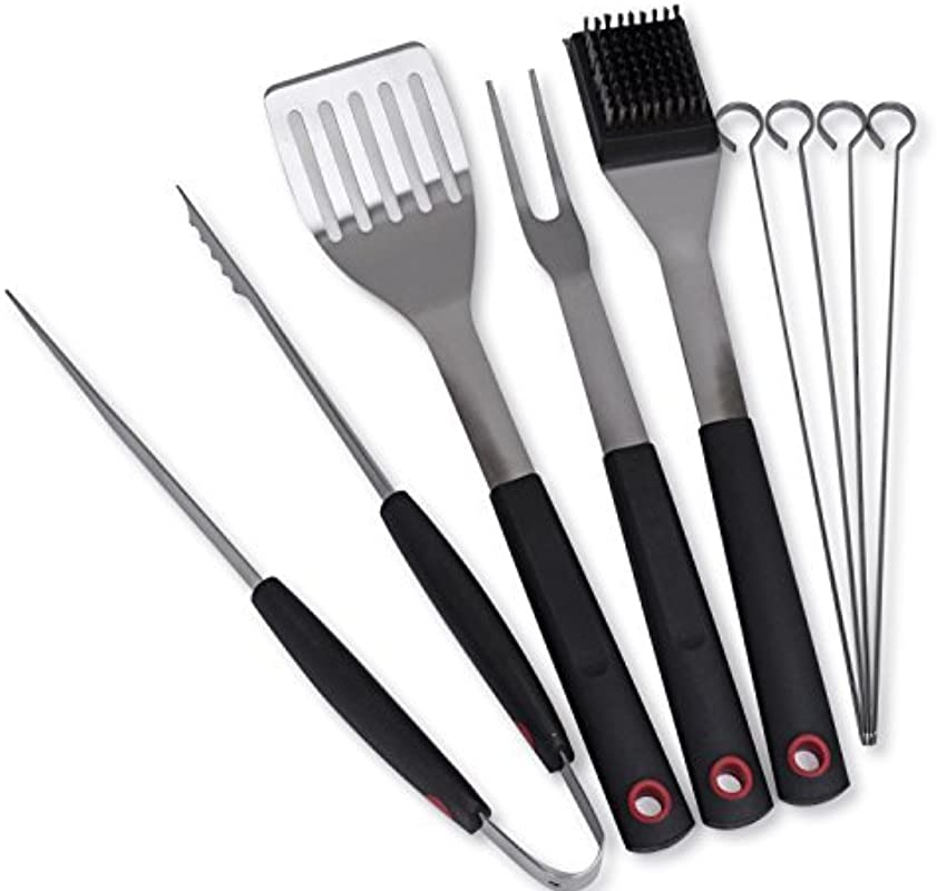 Culina Grilling BBQ Tool Set 8 Pc Stainless Steel Soft Touch Handle
