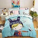 BELOVINGSHOP Bettbezug-Set, Bettwäsche aus 100% Baumwolle Inklusive 1 Bettbezug sowie 2 Kissenbezüge und 1 Bettlaken, Lichtechtheit, Antifouling, Atmungsaktiv,3,Double
