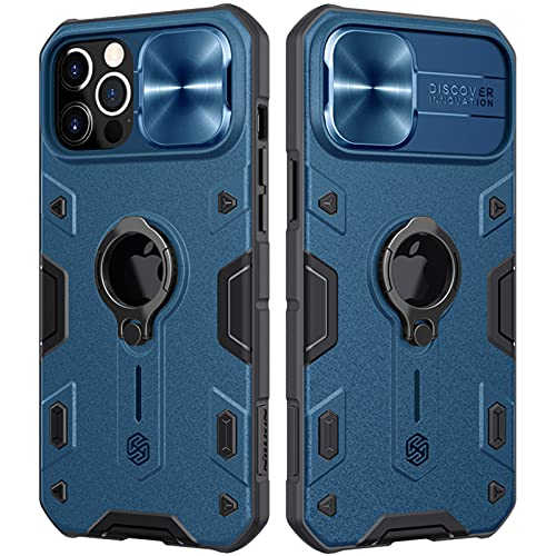 CloudValley for iPhone 12 Pro Max Case with Camera Cover & Kickstand, Slide Lens Protection + 360° Rotate Ring Stand, Impact-Resistant, Shockproof, Protective Bumper, Blue Armor Style