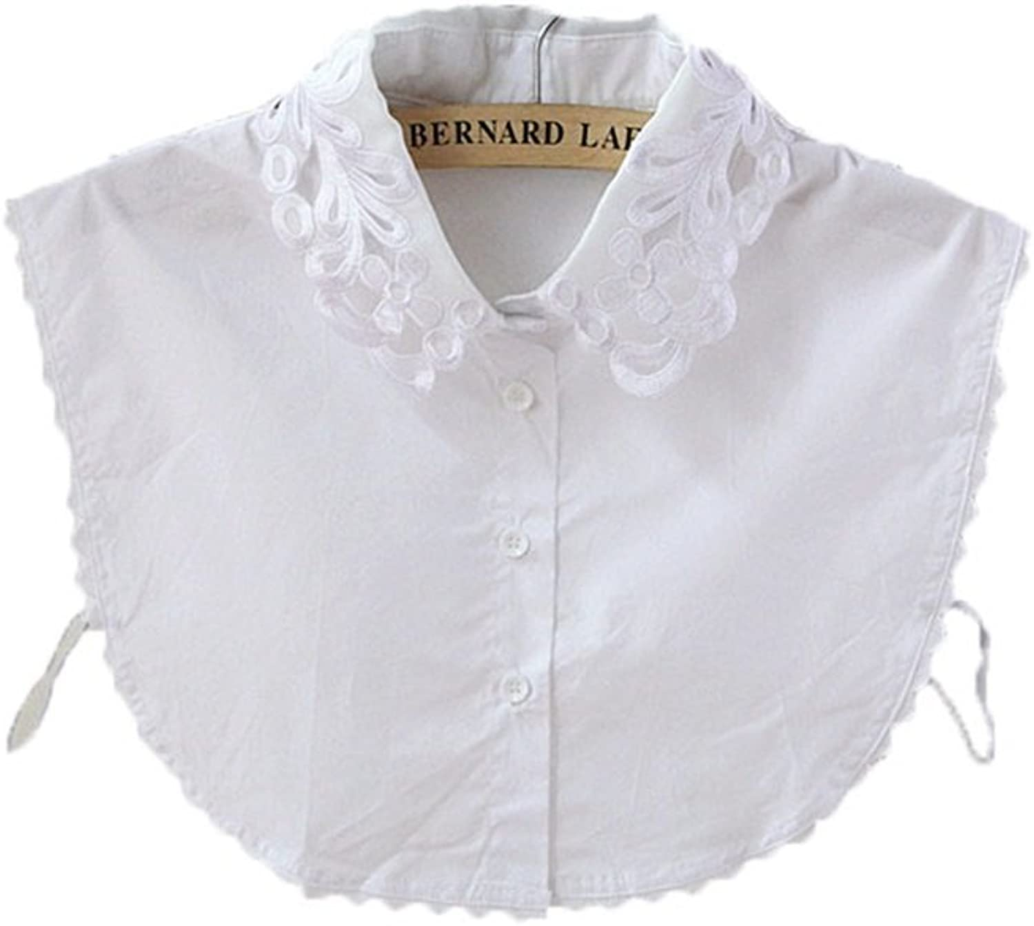Women's Embroidery Hollow Lace Fake Collar Button Detachable Half Shirt False Blouse DIY Tops