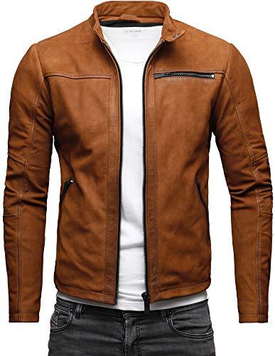 Crone Epic Herren Lederjacke Cleane Basic Leder Jacke aus weichem Rindsleder (M, Cognac (Nubukleder))