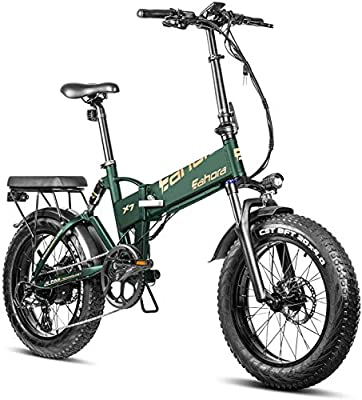 Eahora X7 750W Folding Fat Tire Electric Bicycle 48V Commuter Electric Bike for Adults Full Suspension, Power Regeneration, Electric Lock, 7 Speed Gears