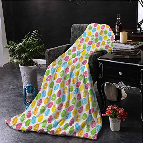 Luoiaax Easter Plush Throw Blanket for Couch Greeting The Colorful and Fun Spring Season April Holiday Celebration with Food Super Soft Cozy Queen Blanket W60 x L91 Inch Multicolor