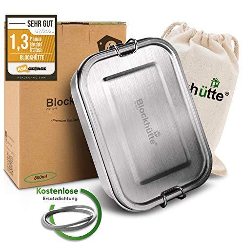 Blockhütte® Premium Edelstahl Brotdose [800ml] für Kinder inkl. Fächern & GRATIS Ersatzdichtung. - Die Frischhaltedose mit Trennwand ist auslaufsicher. - Brotzeitdose klein.