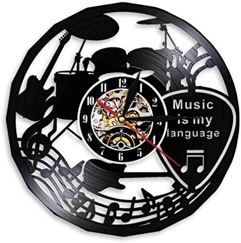 Reloj de Pared La música es mi Idioma Música Citas Inspiradoras Reloj de Pared Música Teatro Decoración Guitarra Tambor Disco de Vinilo Retro Reloj de Pared 30 × 30Cm