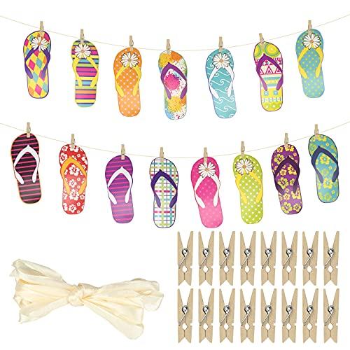 CINMOK Decoracion Hawaiana Fiesta, Adorno Tropical, Bandera Hawaii, Ornamento Diseño Zapatillos Chancleta Pantufla Playa Piscina Jardín Barbacoa Colgante Sin Montaje Habitación Restaurante Pared.