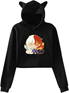Opfans Crop Top Hoodie with My Hero Academia Shouto Todoroki Shoto Anime Sweater Pullover for Girls Boku No Hero Academia