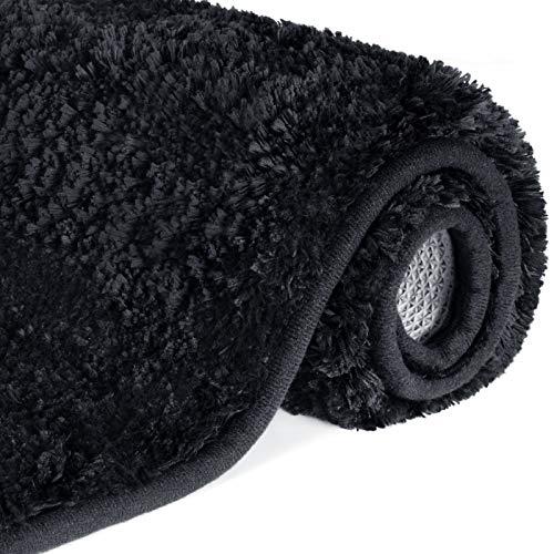 Lifewit Bath Mat Black, Microfibra Suave Shag Súper Absorbente de Agua Antideslizante Alfombra de baño de Goma, Lavadora, 80 x 50 cm