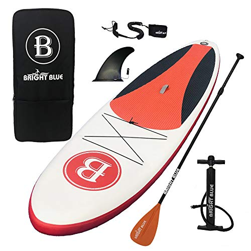 """BRIGHT BLUE 10'6"""" Inflatable Stand Up Paddle Board (6"""" Thick) for All Round Touring ISUP Bundle Package with Pump,Paddle,Fin,Backpack,Leash"""