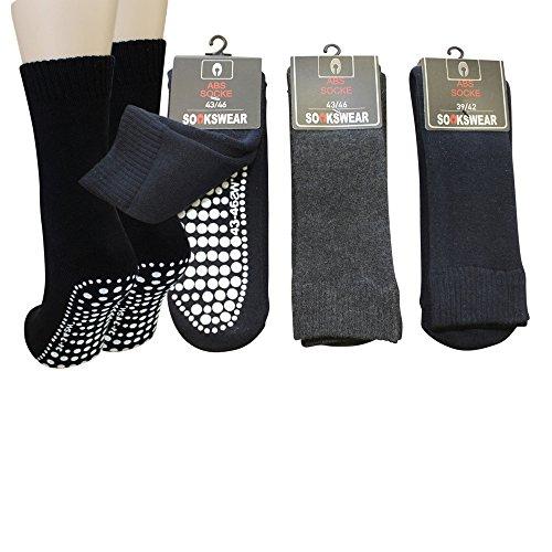 3 Paar Damen Herren ABS Socken Anti Rutsch Socken Stoppersocken Noppensocken (39-42, Schwarz)