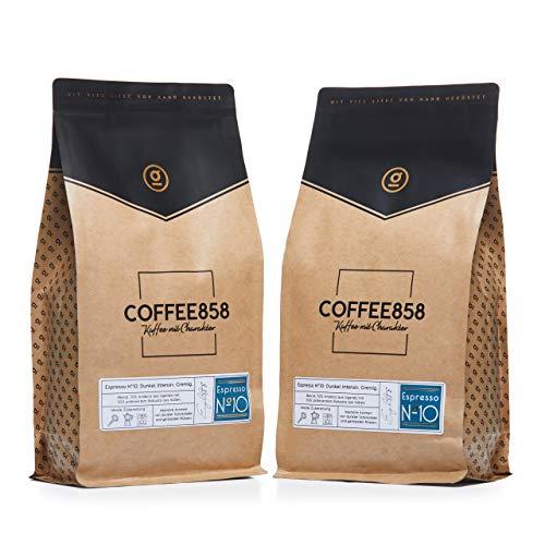 Espresso N°10 Dark Edition – Dunkle Espresso-Bohnen – Feinster Arabica Robusta Blend – Kaffee-Bohnen für Vollautomaten und Siebträger – 1KG (2x525g)