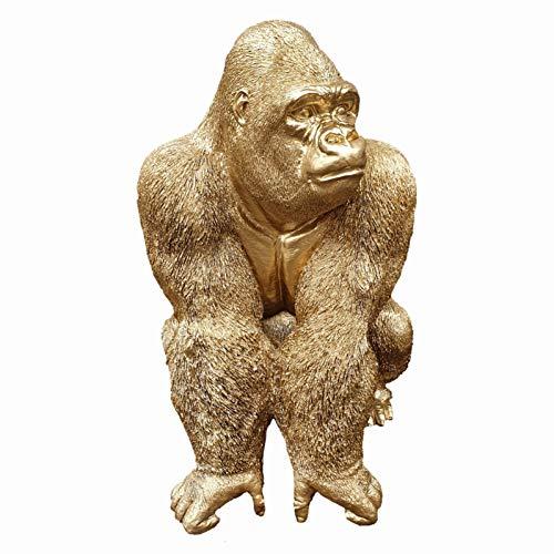 Gorilla Figur sitzt auf der lauer, 56 cm, goldfarben, wetterfeste Gartenfigur aus Kunstharz, Dschungel Gartenfigur