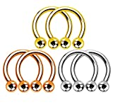 Kultpiercing - 6er Set Hufeisen Piercing Ring - Horseshoe Circular Barbell Helix Tragus Cartilage Ohr Septum Nase Lippe Lippenbändchen Intim 6 Stück: 2X Silber, 2X Gold & 2X Roségold (1,2 x 10 x 4mm)