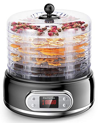Sale!! Elechomes 6 Trays Food Dehydrator for Beef Jerky,Fruit,Meat,Flowers,Herbs, 400W with Timer an...