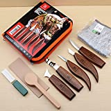 Wood Carving Tools 5 in 1 Knife Set - Includes Hook Knife, Whittling Knife, Detail Knife, Carving Knife Sharpener for Spoon Bowl Cup Kuksa for Kids & Beginners (6.2 inch-5 Set/Wide Knife Tools)
