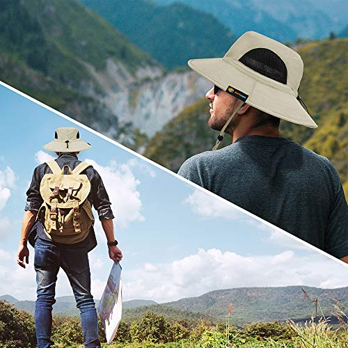 SUN CUBE Fishing Hat for Men, Women | Hiking Boonie Hat with Wide Brim, Adjustable Chin Strap | Safari Summer Bucket Sun Hat | UPF 50+ Protection | Packable Breathable Mesh (Beige)