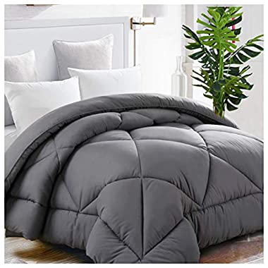 King Comforter Soft Quilted Down Alternative Duvet Insert with Corner Tabs Summer Cooling 2100 Series,Luxury Fluffy Reversible Hotel Collection,Hypoallergenic for All Season,Grey,90 x 102 inches
