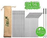 AllEco Edelstahl Strohhalm wiederverwendbar 24er Set + 2 Reinigungsbürsten + Eco-Beutel -...