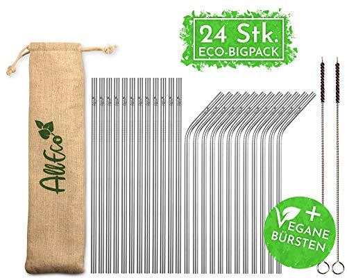 AllEco Edelstahl Strohhalm wiederverwendbar 24er Set + 2 Reinigungsbürsten + Eco-Beutel - Premium-Qualität, umweltfreundlich, nachhaltig, wiederverwendbar & plastikfrei (12 gerade / 12 gebogen)