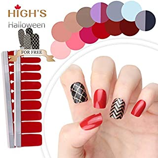 HIGH'S HALLOWEEN DESIGN EXTRE ADHESION Nail Wraps Decals Art Transfer Sticker Collection Manicure DIY Fullnail Polish patch Strips for Wedding, Party, Shopping, Travelling, 24pcs (Halloween candy)