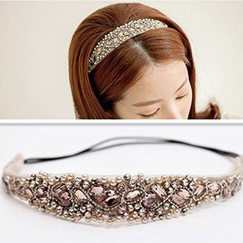 NEW Sweet Women's Girls Lace Pearl Hairband Rhinestone Crystal Headband Head Piece ,02