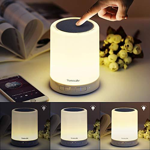 Homecube Nachttischlampe mit Bluetooth Lautsprecher, LED Nachtlampe Stimmungslicht mit Dimmer und Touch Sensor,7 Farbwechsel dimmbar für Schlafzimmer Kinder,Tragbarer Griff, Romantische Geschenke