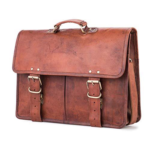 Berliner Bags Ledertasche Amsterdam aus Leder Umhängetasche Aktentasche Laptoptasche 17 Zoll Braun Herren Groß