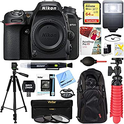 Nikon 1571 D7500 20.9MP DX-Format 4K Ultra HD Digital SLR Camera Body Bundle with 64GB Memory Card, Backpack, Flash, Cleaning Pen, Paintshop Pro 2018, 58mm Filter Kit and Accessories (10 Items) by Nikon