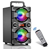 Bluetooth Speaker, 60W (80W Peak) Portable Wireless Speaker with Lights, Double Subwoofer Heavy Bass, FM Radio, MP3 Player, Microphone, Remote, Loud Stereo Speaker for Home Outdoor Party (1MIC)