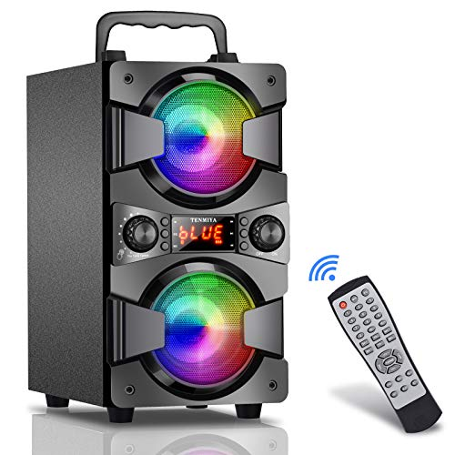 Bluetooth Speakers, 60W (80W Peak) Portable Wireless Speaker with Lights, Double Subwoofer Heavy Bass, FM Radio, MP3 Player, Microphone, Remote, Loud Stereo Speaker for Home Outdoor Party (1MIC)