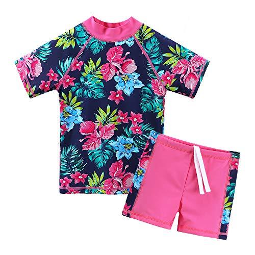 ZNYUNE Ragazze Sunwear - Bambina Bambini Junior Maniche Corte Due Pezzi Costumi Bagno da Maglietta e Pantaloncini Rash Guard Anti UV UPF 50+ Set Spiaggia