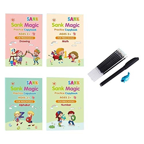 Sank Magic Practice Copybook, Number Tracing Book for Preschoolers with Pen,Magic Calligraphy That Can Be Reused Handwriting Copybook Set (A)