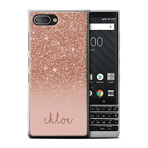 Stuff4 Personnalisé Coque pour Blackberry KEY2/BBF100 Effet Paillettes Coutume Or Rose Désign Transparent Etui Housse Case Rigide Ultra Mince
