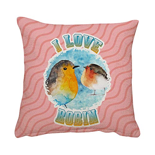 Wevow I love Robin Bird Lover Mothers Day Fathers Day Birthday Christmas Stocking filler Funny gift present idea Throw Pillow Cushion Cover With Insert. (Linen Insert)