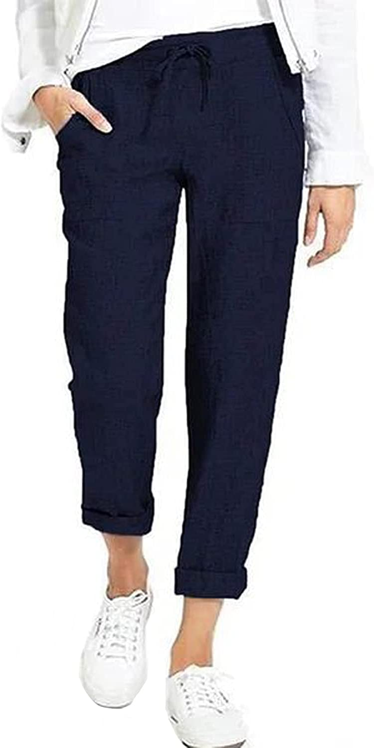 Women's Drawstring Slacks Casual Relaxed-Fit Wide Leg Elastic Waist Linen Pants Solid Loose With Pocket Trousers (4X-Large,Navy Blue)