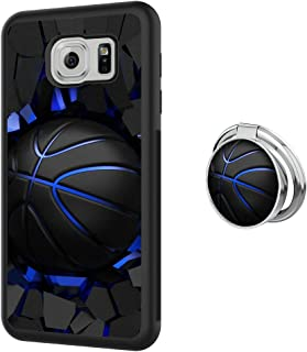 Samsung Galaxy S6 case Basketball Full Body Case with Holder Ring Cover Protector Heavy Duty Protection case Shockproof case for Samsung Galaxy S6