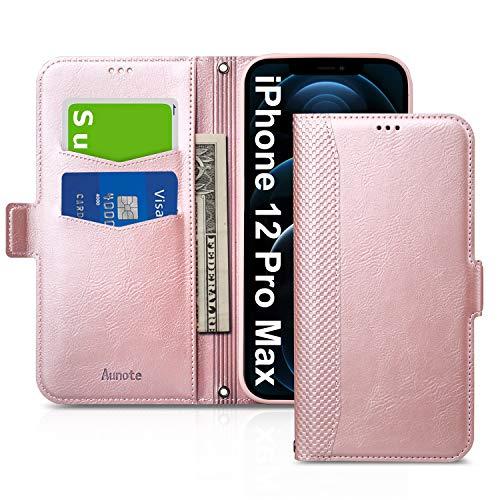 Funda iPhone 12 Pro MAX, Fundas iPhone12 Pro MAX Libro, Carcasa iPhone 12 Pro MAX con Cierre Magnético, Tarjetero y Suporte, Capa Phon12 Pro MAX Plegable Cartera, Tipo Étui Piel Protección.Oro Rosa