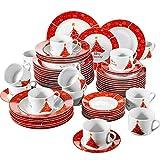 VEWEET, Serie Christmastree, 60-teilig Set Tafelservice, Geschirr Set für 12 Personen, Kaffeeservice für Weihnachten, Geschenk