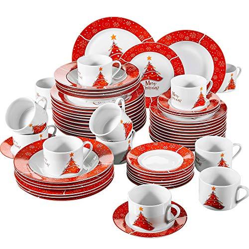 VEWEET, Serie CHRISTMASTREE ,Vajillas de Porcelana, 60 Piezas Vajilla Completa para 12 Personas Vajillas de Navidad decoracion Fiesta/ Mesa