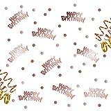 Oblique-Unique Happy Birthday Geburtstag Konfetti Roségold mit Punkten Tisch Deko über 300 Stück