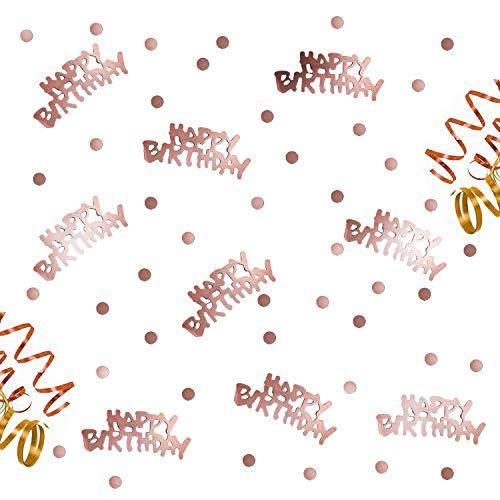 Oblique-Unique® Happy Birthday Geburtstag Konfetti Roségold mit Punkten Tisch Deko über 300 Stück