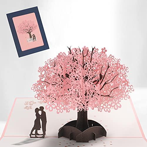 3D Hochzeitskarte, Pop Up 3D Hochzeitsgeschenk mit Umschlag, Geburtstagskarte Rosa Kirschblüte Valentinstag Karte, Karte für Hochzeitstag,Valentinstag