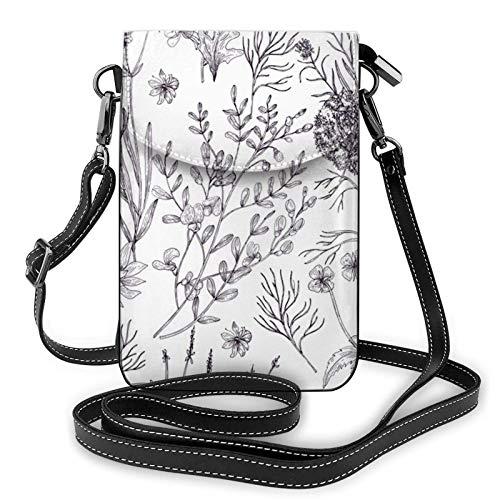Crossbody Handy Geldbörse Blühende Kräuter und krautige Pflanzen Kleine Crossbody Taschen Frauen Pu Leder Umhängetasche Handtasche
