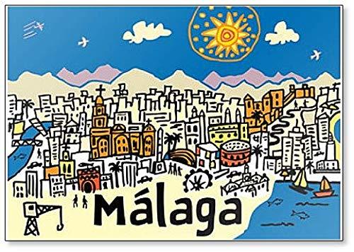 Imán para nevera clásico con ilustración de la ciudad de Málaga