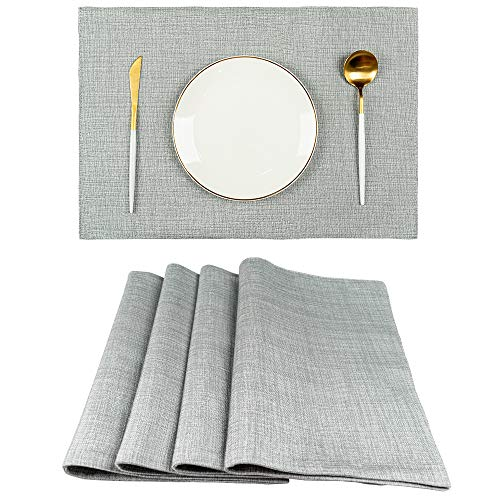 Spring Garden Home Grey Placemats Set of 4, Decorative Faux Linen Textured Woven Fabric Heat Resistant Place Mats for Kitchen Tables, Greyish Green, 13x19 Inches
