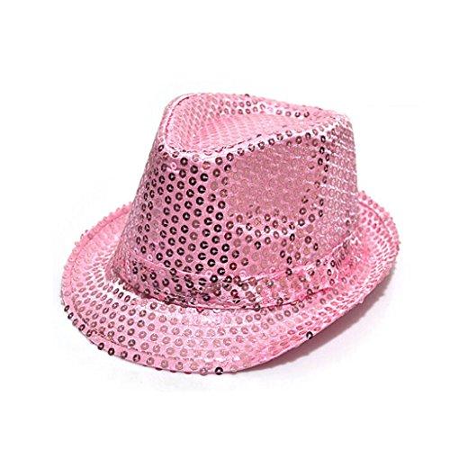 Fashion chapeau panama avec paillettes d'enfants pour la fête(Pink)